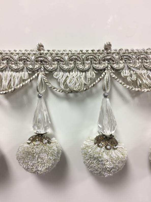 Sold by The Yard 4 1//4 Fancy Crystal Tassel Fringe TF-69//50-2 Silver /& Creamy White
