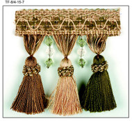 "4"" TASSEL FRINGE -8/4-15-7       TAUPE,GREEN & LIGHT BROWN"