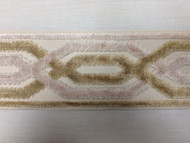 "3.5"" Trim Tape With Velvet Embroidery H-1109/1 (Cream,Beige & Light Peach)"
