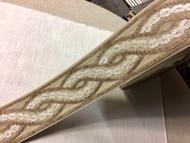 "3.5"" Trim Tape With Velvet Embroidery H-1113/2 (Natural,Cream & Taupe)"