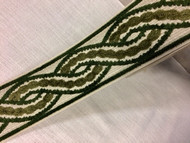 "3.5"" Trim Tape With Velvet Embroidery H-1113/7 (Beige & Green)"