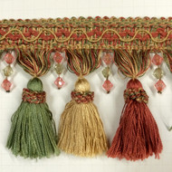 "4"" TASSEL FRINGE -8/22-12-13    SALMON,ANTIQUE GOLD & MINT GREEN"
