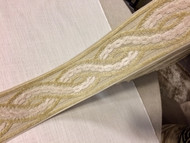 "3.5"" Woven Trim Tape with Velvet Emroidery H-1113/1 (Natural & Beige)"