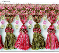 "4"" TASSEL FRINGE -8/19-15          PINK,HOT PINK & GREEN"