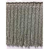 "9"" Faux Silk Fancy Header, Highiest Quality Bullion Fringe Trim BUF-9/50-4 Silver & Taupe"