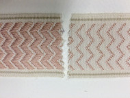"2"" WOVEN EMBROIDERY REVERSIBLE TRIM TAPE H-71/96 NATURAL AND DUSTY PINK"