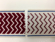 "2"" WOVEN EMBROIDERY REVERSIBLE TRIM TAPE H-71/41 CREAM CRANBERRY AND BLUE"