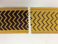 "2"" WOVEN EMBROIDERY REVERSIBLE TRIM TAPE H-71/12 ANTIQUE GOLD AND BROWN"