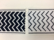 "2"" WOVEN EMBROIDERY REVERSIBLE TRIM TAPE H-71/33 WHITE AND BLACK"