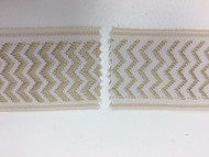 "2"" WOVEN EMBROIDERY REVERSIBLE TRIM TAPE H-71/170 CREAM AND BEIGE"