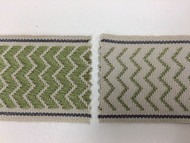 "2"" WOVEN EMBROIDERY REVERSIBLE TRIM TAPE H-71/88 BEIGE AND OLIVE GREEN"