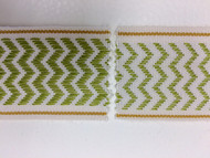 "2"" WOVEN EMBROIDERY REVERSIBLE TRIM TAPE H-71/174 CREAMY WHITE CHARTREUSE AND GOLD"