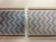 "2"" WOVEN EMBROIDERY REVERSIBLE TRIM TAPE H-71/119 NATURAL DUSTY BLUE AND BROWN"