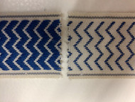 "2"" WOVEN EMBROIDERY REVERSIBLE TRIM TAPE H-71/104 NATURAL AND BLUE"