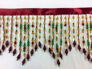 "5.5"" Crystal Beaded Fringe Jewel Tone CBF-38/33-12-17"
