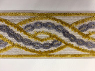 "3.5"" Woven Trim Tape With Velvet Embroidery  H-1106/5 NATURAL, GOLD AND SILVER"