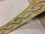 "3.5"" Woven Trim Tape With Velvet Embroidery  H-1113/5 NATURAL, GOLD AND SILVER"