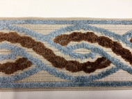 "3.5"" Woven Trim Tape With Velvet Embroidery  H-1106/5 NATURAL, AQUA AND BROWN"