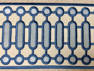 "4 1/8"" WOVEN EMBROIDERY TRIM TAPE (CREAM / COLONIAL BLUE) H-1151C-1"