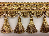 "4"" TASSEL FRINGE-9/11-12        GOLD & ANTIQUE GOLD"
