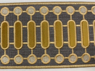 """4 1/8"""" WOVEN EMBROIDERY TRIM TAPE GREY / CHAMPAGNE / GOLD H-1151C-4"""