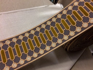 "4 1/8"" WOVEN EMBROIDERY TRIM TAPE GREY / CHAMPAGNE / GOLD H-1151C-4"