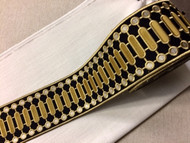 "4 1/8"" WOVEN EMBROIDERY TRIM TAPE BLACK / GOLD / CREAM H-1151C-6"