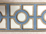 """3 1/2"""" WOVEN EMBROIDERY TRIM TAPE (COLONIAL BLUE /  WHITE / TAN) H-1156C-4"""