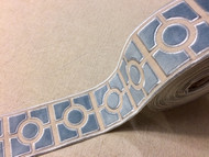 "3 1/2"" WOVEN EMBROIDERY TRIM TAPE (BEIGE / LT. BLUE) H-1156C-5"