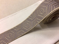 "3 1/4"" WOVEN EMBROIDERY TRIM TAPE ( GREY / BEIGE ) H-1162C-5"