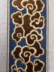 """2 1/2"""" WOVEN EMBROIDERY TRIM TAPE (NAVY / BEIGE) H-1162B-3"""