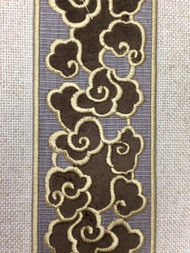 """2 1/2""""  WOVEN EMBROIDERY TRIM TAPE ( GREY / BEIGE ) H-1162B-5"""