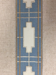 """2 1/2"""" WOVEN EMBROIDERY TRIM TAPE (COLONIAL BLUE /  WHITE / TAN) H-1156B-4"""