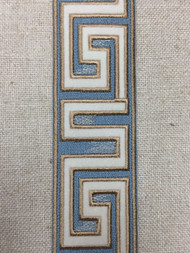 """2 1/8"""" WOVEN EMBROIDERY TRIM TAPE (COLONIAL BLUE /  WHITE / TAN) H-1156A-4"""