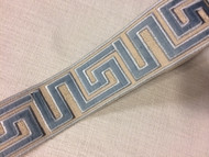 "2 1/8"" WOVEN EMBROIDERY TRIM TAPE (BEIGE / LT. BLUE) H-1156A-5"