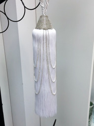 "12"" TASSEL RHINESTONE SINGLE CURTAIN TIEBACK SCTB-19/1 WHITE"