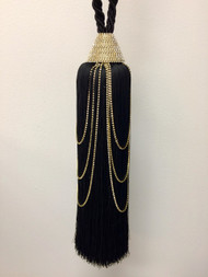 "12"" TASSEL RHINESTONE SINGLE CURTAIN TIE BACK SCTB-19/47 BLACK / GOLD / RHINESTONE"