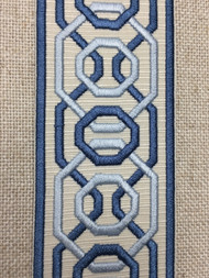 """2 1/4"""" Woven Embroidery Trim Tape Cream/Colonial Blue H-1151A-1"""