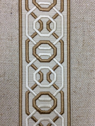 "2 1/4"" Woven Embroidery Trim Tape Cream/TAN H-1151A-2"