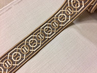 "2 1/4"" Woven Embroidery Trim Tape Grey/Champagne/Gold H-1151A-4"
