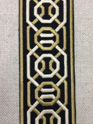 "2 1/4"" Woven Embroidery Trim Tape Black/Gold/Cream H-1151A-6"