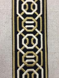 "2 1/4"" Woven Embroidery Trim Tape Black/Gold/Cream H-1151A-6"