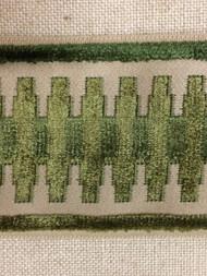 """3.5""""  VELVET EMBROIDERY TRIM TAPE H-1108/7 BEIGE GREEN"""