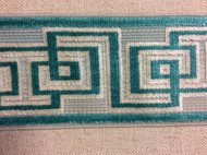 "3.5"" WOVEN VELVET EMBROIDERY TRIM TAPE H-1115/3  Silver/Turquoise"
