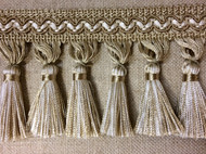 "3.5"" TASSEL FRINGE TRIM TF-5/3-2 BEIGE AND CREAMY WHITE"