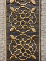 """2 1/4"""" EMBROIDERY TAPE FRINGE TRIM H-1151B-4 TAUPE & BEIGE"""
