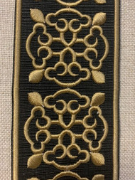 "2 1/4"" EMBROIDERY TAPE FRINGE TRIM H-1151B-6 BLACK & ANTIQUE GOLD"