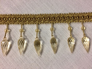 "Gold 3.25"" Crystal Beaded Fringe Trim TF-75/12"