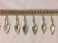 "Beige & Taupe 3.25"" Crystal Beaded Fringe Trim TF-75/3-4"