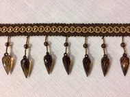 "Brown & Gold 3.25"" Crystal Beaded Fringe Trim TF-75/8-12"